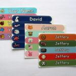 Fun mini stick on name labels